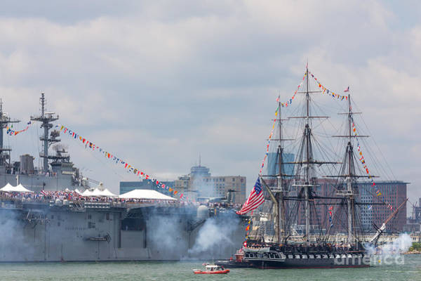 Photograph - Uss Constitution Salutes Uss Wasp by Susan Cole Kelly