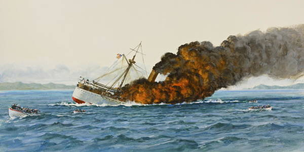 Painting - Uss Main Sinking by Cliff Spohn