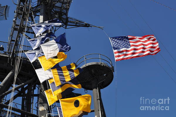 Photograph - Uss Midway Flags by Bridgette Gomes