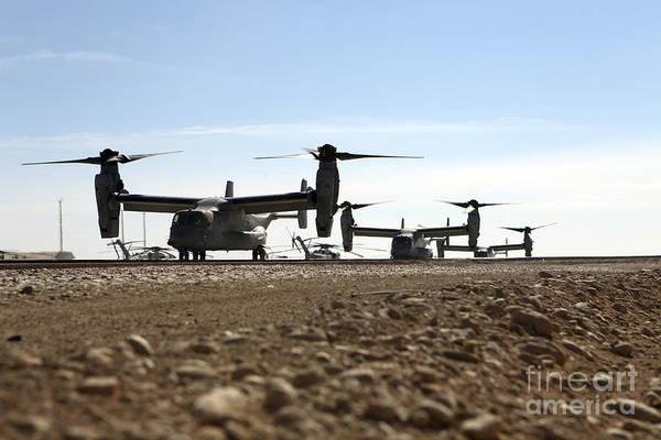 Mv-22 Photograph - V-22 Osprey Tiltrotor Aircraft Arrive by Stocktrek Images