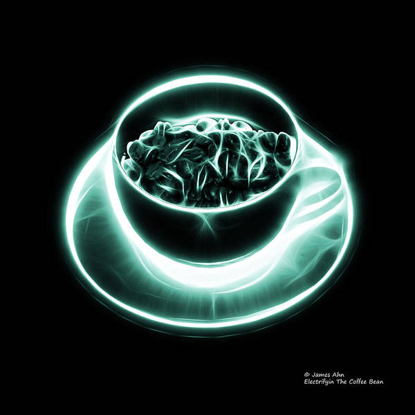 Digital Art - V2 - Bb - Electrifyin The Coffee Bean - Cyan by James Ahn