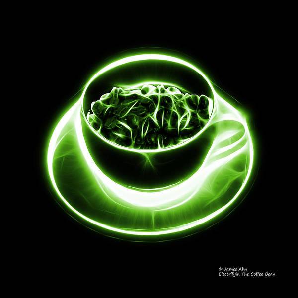 Digital Art - V2 - Bb - Electrifyin The Coffee Bean - Green by James Ahn