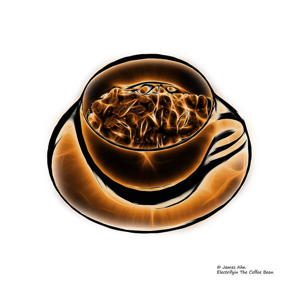 Digital Art - V3-wb-electrifyin The Coffee Bean-orange by James Ahn
