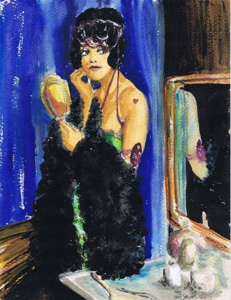 Flappers Drawing - Vamp With Mirrors by Mel Thompson