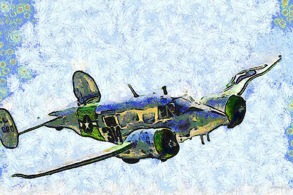 Photograph - Van Gogh Flies A Twin Beech C-45 Expeditor . 7d15392 by Wingsdomain Art and Photography