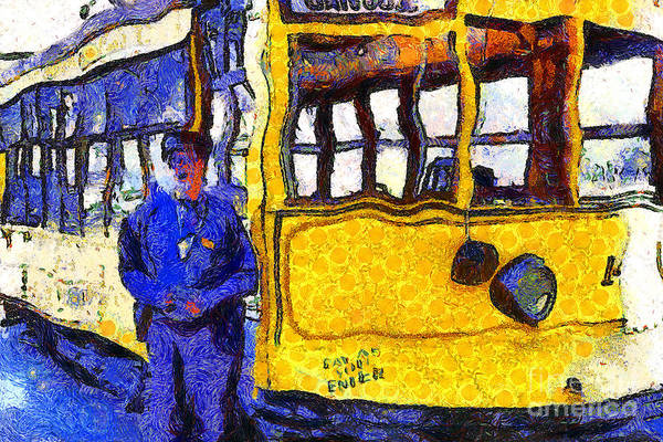 Photograph - Van Gogh Visits The Cablecar Motorman Of San Jose California . 7d12868 by Wingsdomain Art and Photography