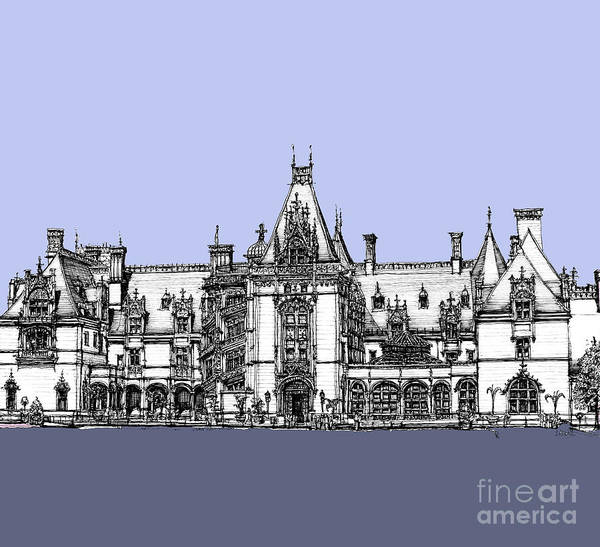 Antlers Drawing - Vanderbilt's Biltmore Estate In Blue  by Building  Art