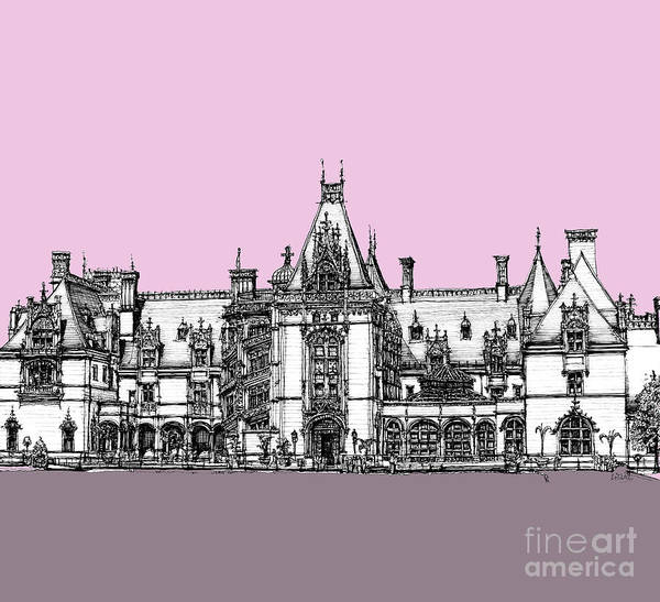 Antlers Drawing - Vanderbilt's Biltmore House In Pink by Building  Art