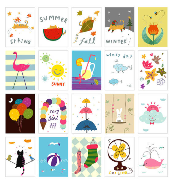 Prop Digital Art - Various Seasonal Postcard by Eastnine Inc.