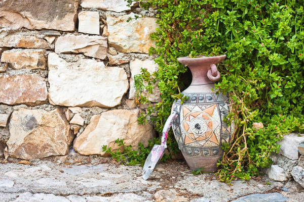 Clay Pot Photograph - Vase And Trowel  by Tom Gowanlock