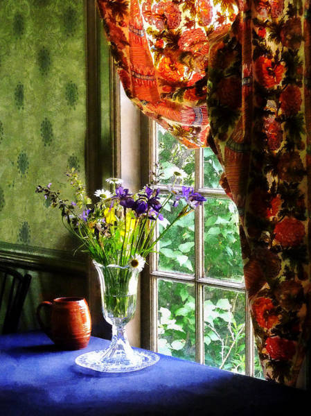 Photograph - Vase Of Flowers And Mug By Window by Susan Savad