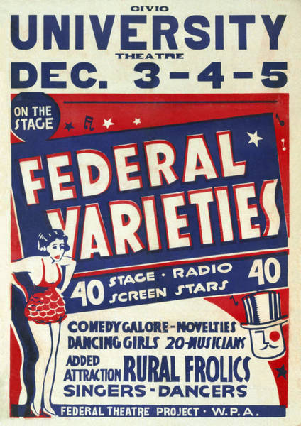 Burlesque Dancer Photograph - Vaudeville. Federal Varieties 40 Stage by Everett