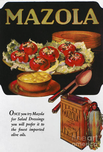 Salad Dressing Photograph - Vegetable Oil Ad, 1920 by Granger