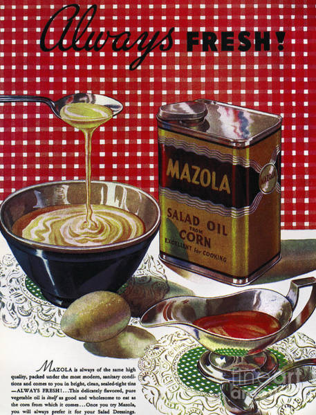 Salad Dressing Photograph - Vegetable Oil Ad, 1936 by Granger