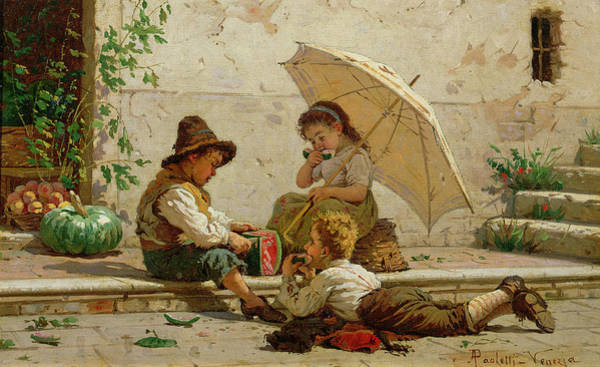 Melon Painting - Venetian Children by Antonio Paoletti