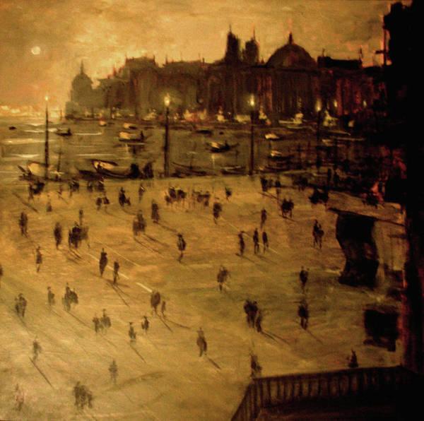 Wall Art - Painting - Venetian Moonlight by Berto Ortega