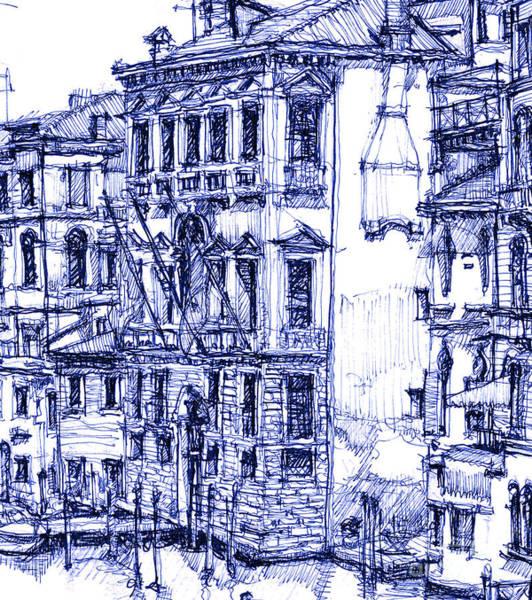 Venice Detail In Blue Art Print