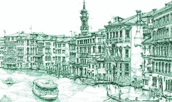 Venice Drawing In Green Art Print