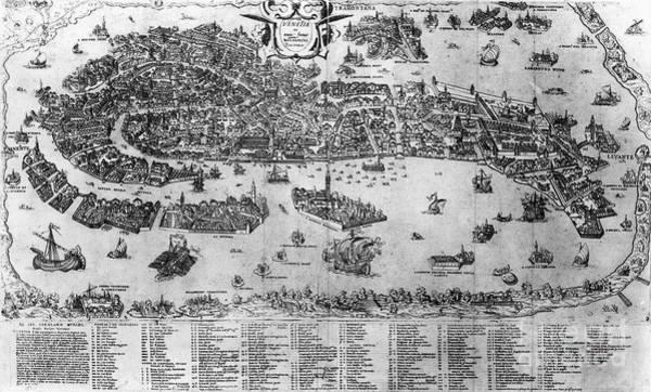 1566 Photograph - Venice: Map, C1566 by Granger