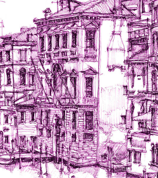 Pink Drawing - Venice Palace In Purple by Building  Art