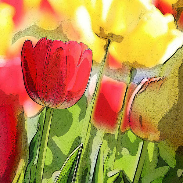 Neon Pink Painting - Vibrant Tulips by Glennis Siverson
