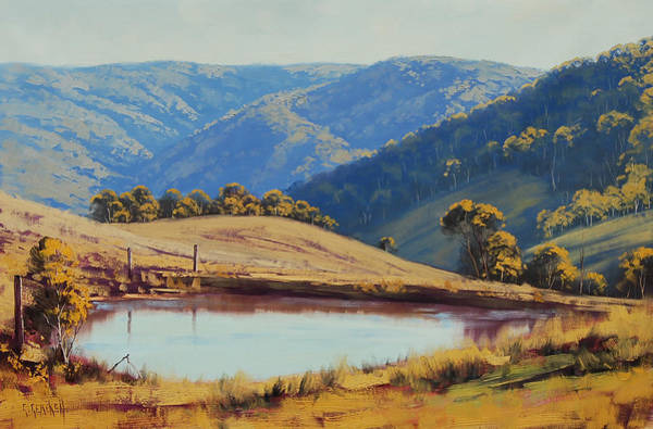 Dam Wall Art - Painting - View Across The Dam by Graham Gercken