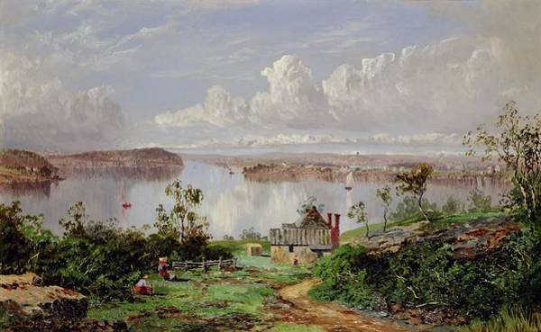 Onion Painting - View From Onions Port Sydney  by William Charles Piguenit