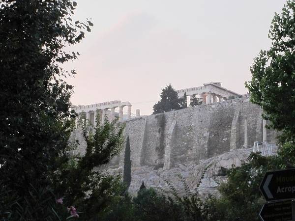 Photograph - View Of Ancient Parthenon Acropolis From Down Below In Athens Greece by John Shiron
