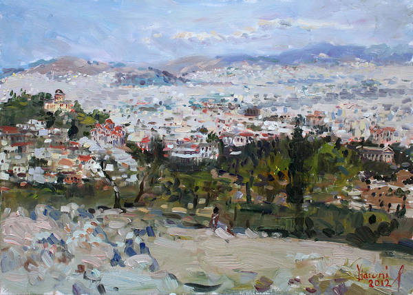 Pantheon Wall Art - Painting - View Of Athens From Acropolis by Ylli Haruni