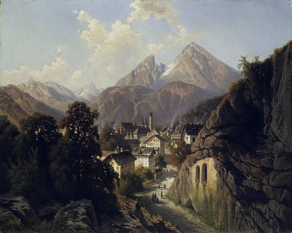 Wall Art - Painting - View Of Berchtesgaden by Theodor Nocken
