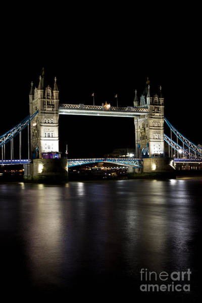 Wall Art - Photograph - View Of The River Thames And Tower Bridge At Night by David Pyatt