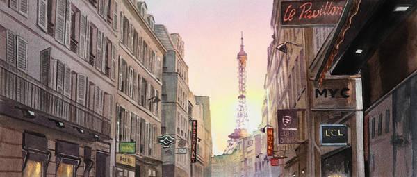 Painting - View On Eiffel Tower From Rue Saint Dominique Paris France by Irina Sztukowski