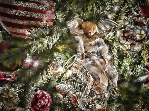 Photograph - Vignette Photo - Christmas Angel W Silver Gold Red Xmas Baubles And Holiday Lights - Tree Trimmings by Chantal PhotoPix