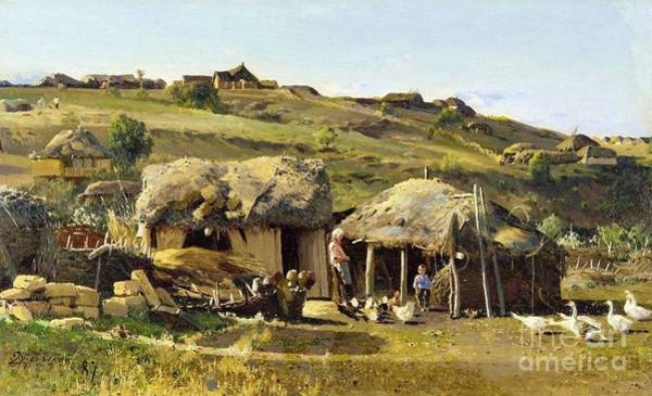 Russian River Painting - Village On River Don by Pg Reproductions