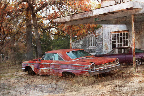 Digital Effect Photograph - Vintage 1950 1960 Ford Galaxy Red Car Photo by Svetlana Novikova