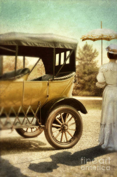 Outing Photograph - Vintage Car And Lady With Parasol by Jill Battaglia