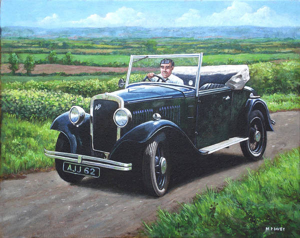 Painting - Vintage Car Austin 7 by Martin Davey