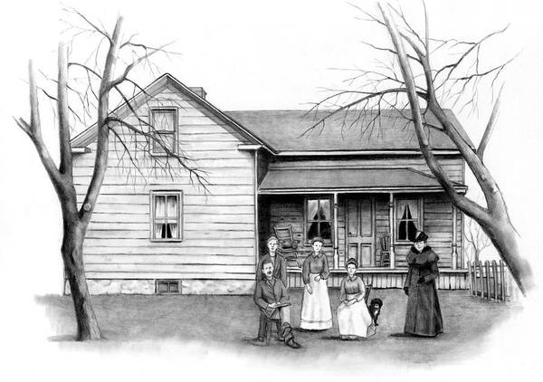 Homestead Drawing - Vintage Farm House With Family by Joyce Geleynse
