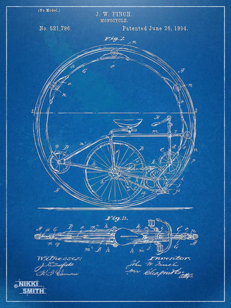 Wall Art - Digital Art - Vintage Monocycle Patent Artwork 1894 by Nikki Marie Smith