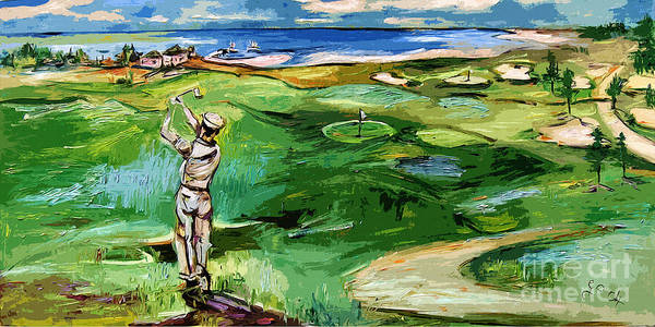 Painting - Vintge Golfer By The Sea by Ginette Callaway
