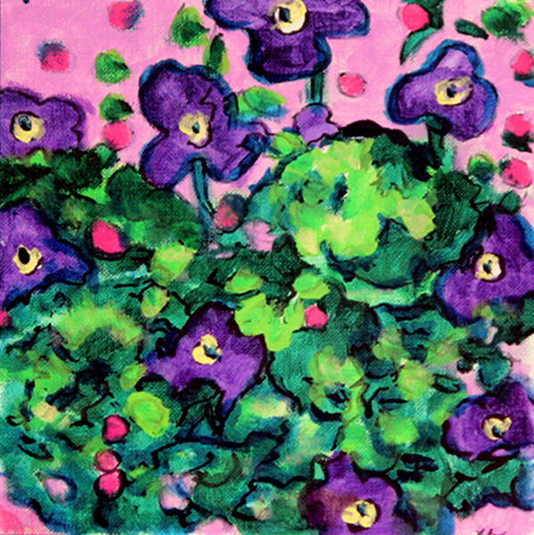 Wall Art - Painting - Violets Sketch by Laura Heggestad