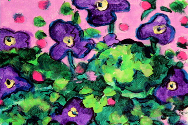 Wall Art - Painting - Violets Too by Laura Heggestad