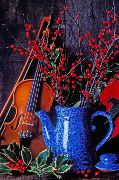 Blue Berry Photograph - Violin With Blue Pot by Garry Gay
