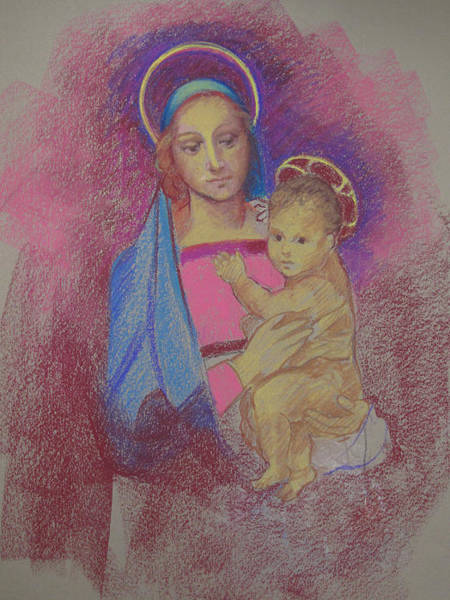 Painting - Virgin Mary With Baby Jesus by Suzanne Cerny