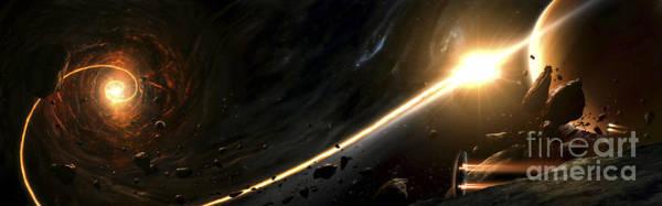 Digital Art - Vision Of A Black Hole Destroying A Sun by Tobias Roetsch