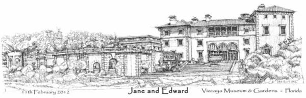 Planner Wall Art - Drawing - Vizcaya For Jane And Edward by Building  Art