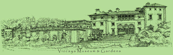 Planner Wall Art - Drawing - Vizcaya In Olive Green  by Building  Art