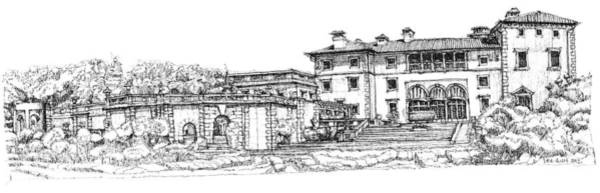 Planner Wall Art - Drawing - Vizcaya Museum And Gardens  by Building  Art