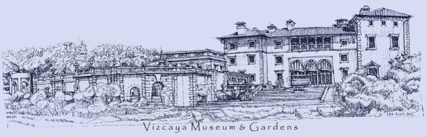 Planner Wall Art - Drawing - Vizcaya Museum And Gardens In Blue  by Building  Art