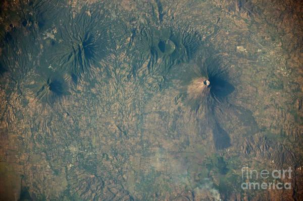 El Salvador Photograph - Volcanoes Near Usulutan, El Salvador by NASA/Science Source